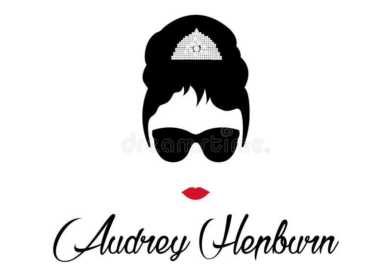 Mujer del ² del retrà del retrato, diva con la joyería de la perla, ejemplo mínimo de Audrey stock de ilustración