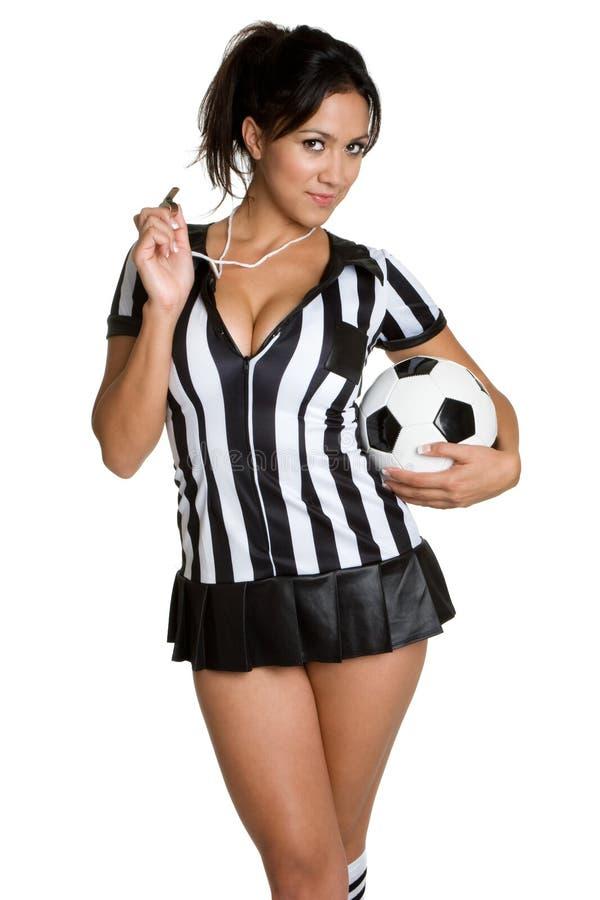 Mujer del árbitro del fútbol foto de archivo