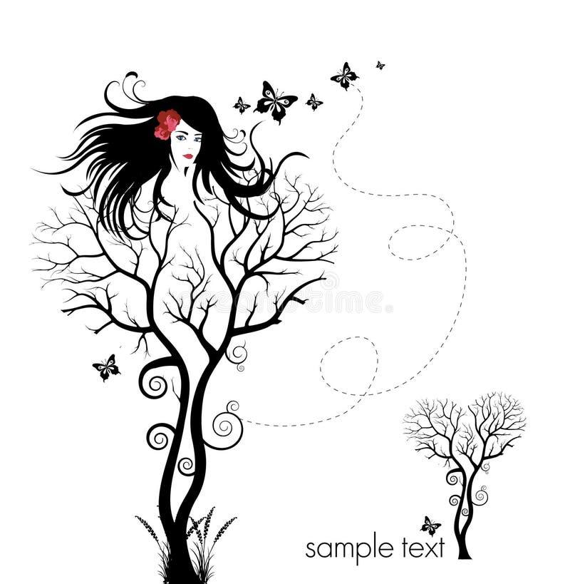 Mujer del árbol stock de ilustración