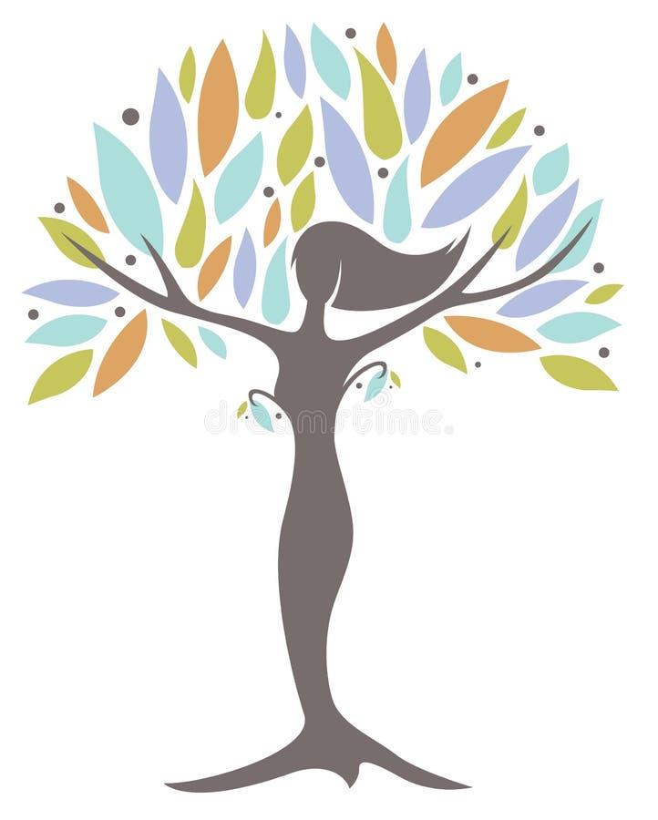 Mujer del árbol de la madre naturaleza ilustración del vector