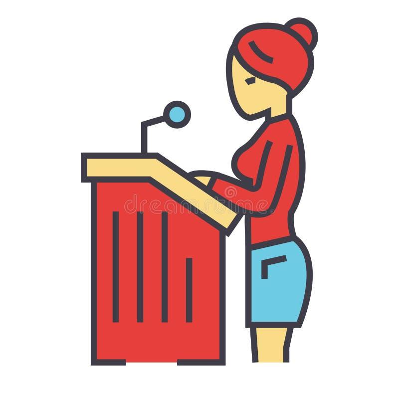 Mujer del abogado, discurso ante el tribunal, concepto del abogado libre illustration