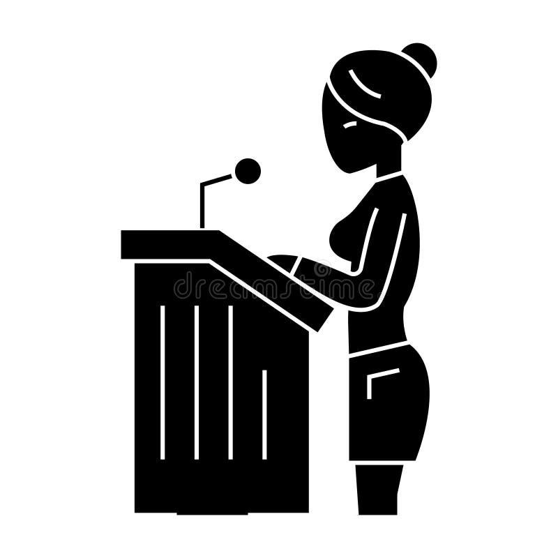 Mujer del abogado - icono del discurso ante el tribunal, ejemplo del vector, muestra negra en fondo aislado libre illustration