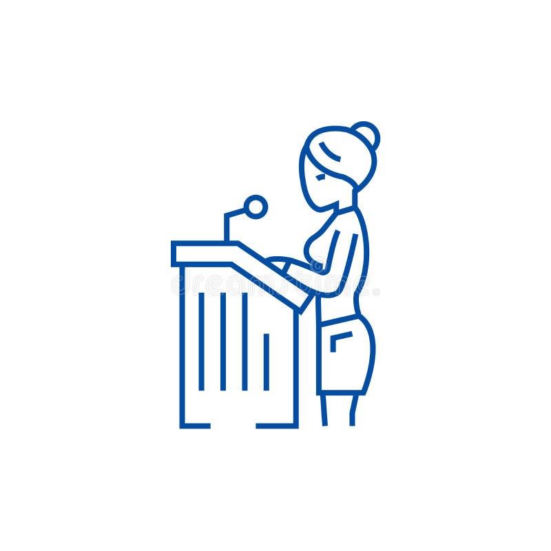 Mujer del abogado, línea concepto del discurso ante el tribunal del icono Mujer del abogado, símbolo plano del vector del discurs libre illustration