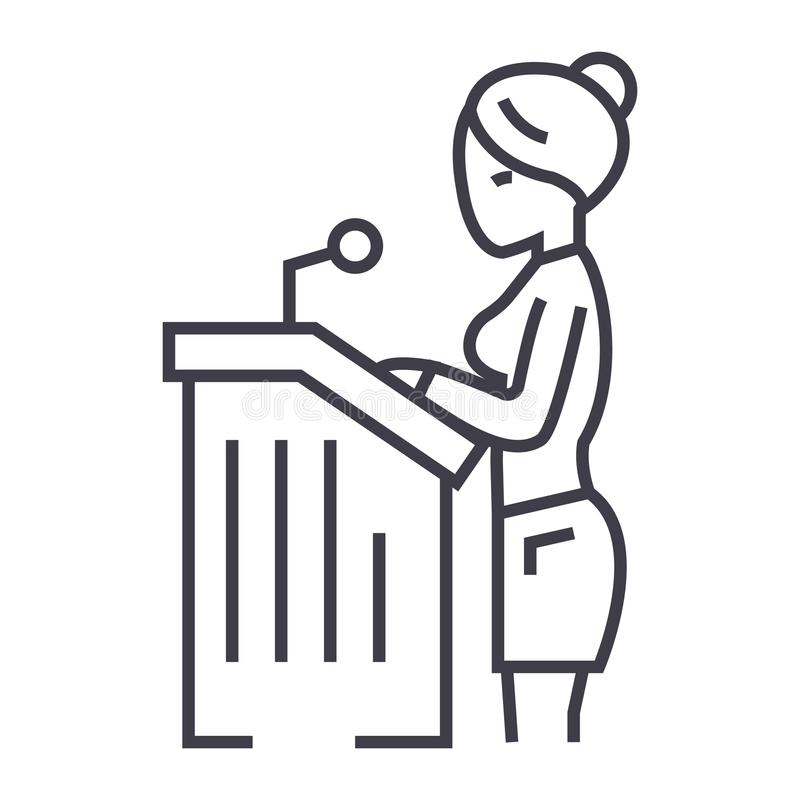 Mujer del abogado, línea icono, muestra, ejemplo del vector del discurso ante el tribunal en el fondo, movimientos editable ilustración del vector
