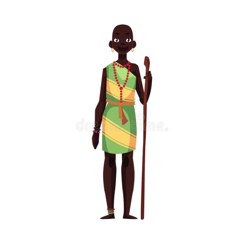 Mujer del aborigen de las pulseras de la tribu africana y del collar de la gota que llevan ilustración del vector