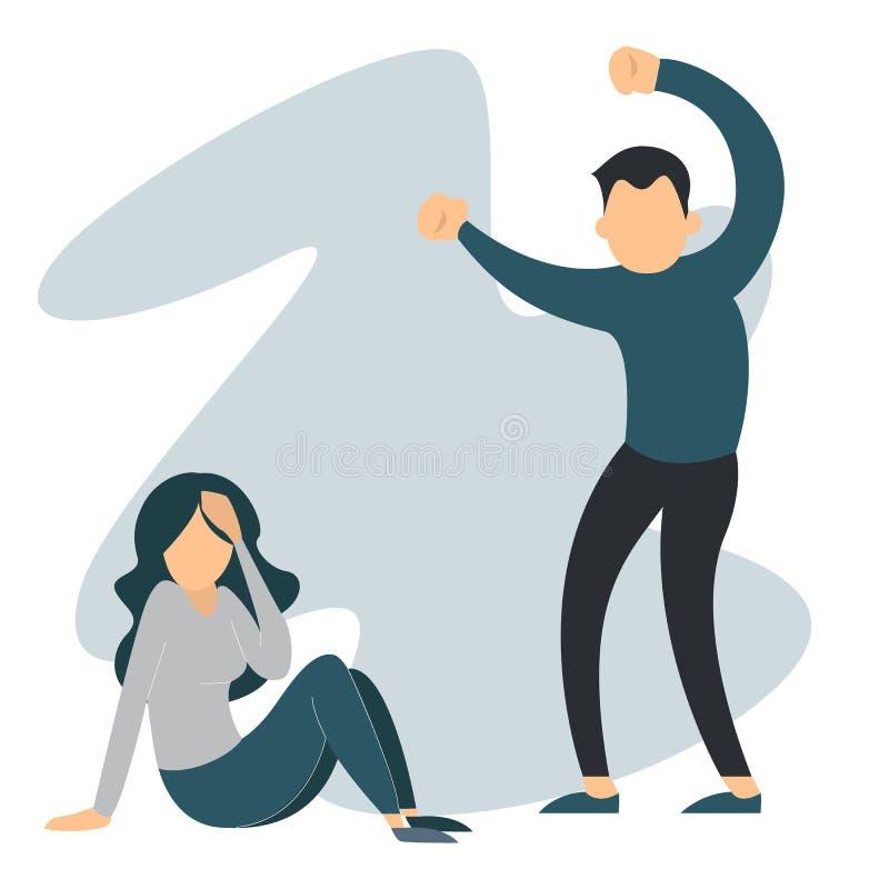 Mujer del abuso del hombre Violencia doméstica, hembra gritadora libre illustration