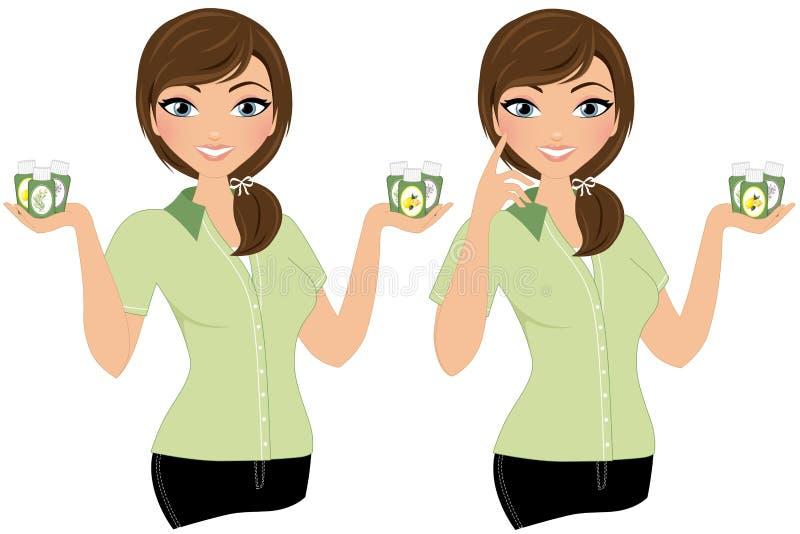 Mujer del aceite esencial stock de ilustración