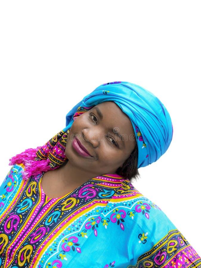 Mujer del Afro que lleva un vestido tradicional, aislado imagen de archivo libre de regalías