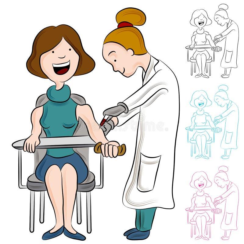 Mujer del análisis de sangre stock de ilustración