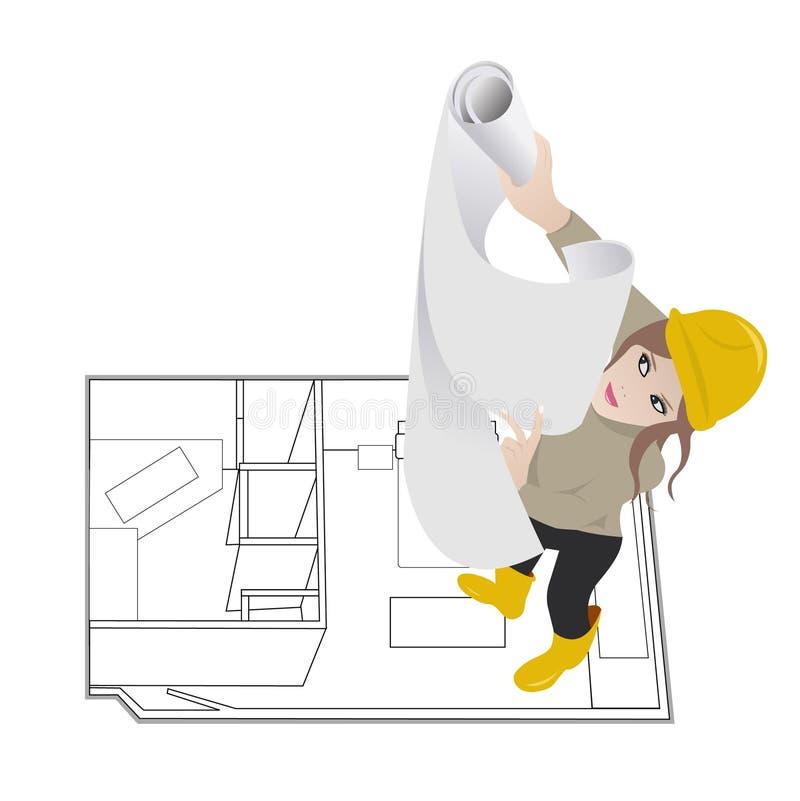 Mujer del arquitecto ilustración del vector