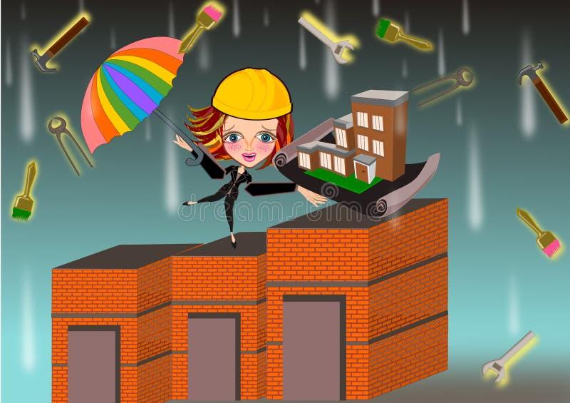 Mujer del arquitecto debajo de la lluvia de las herramientas de funcionamiento