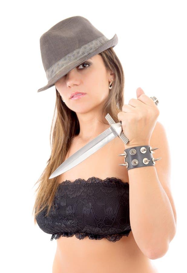 Mujer del asesino con el cuchillo imagenes de archivo