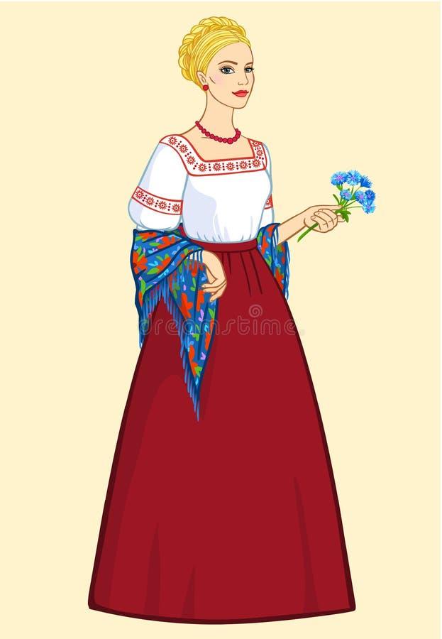 Mujer del aspecto eslavo en ropa antigua libre illustration