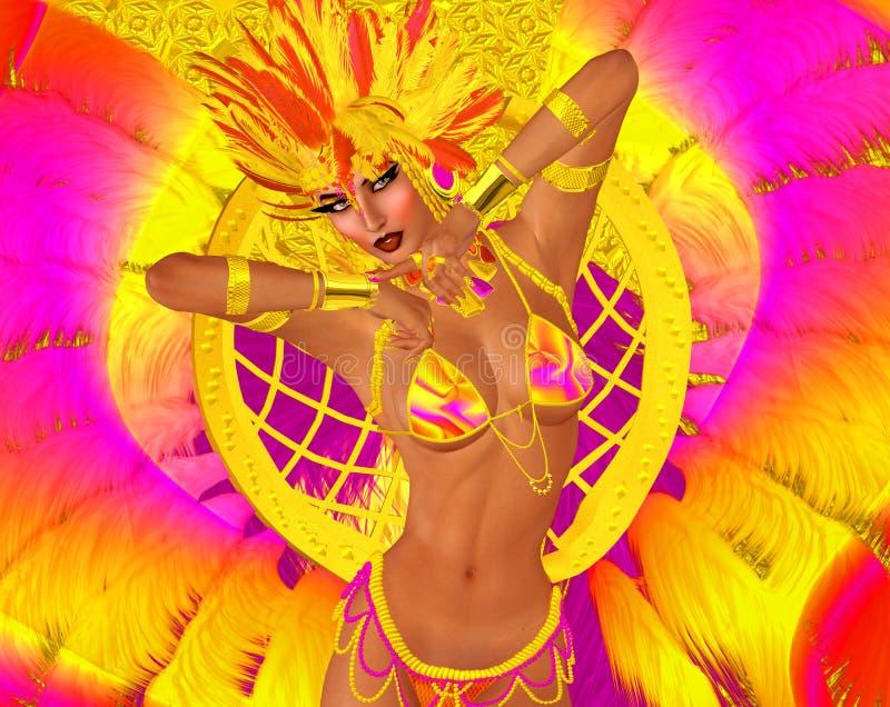 Mujer del bailarín del carnaval en plumas y tocado coloridos foto de archivo libre de regalías