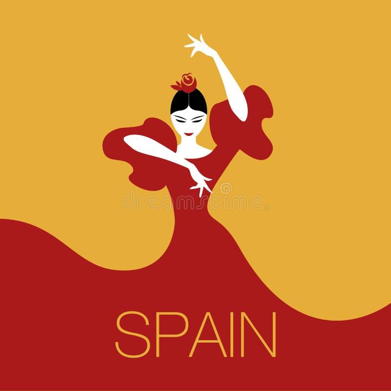 Mujer del bailarín del flamenco ilustración del vector