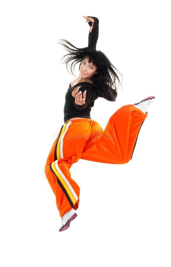 Mujer del bailarín en salto imagenes de archivo