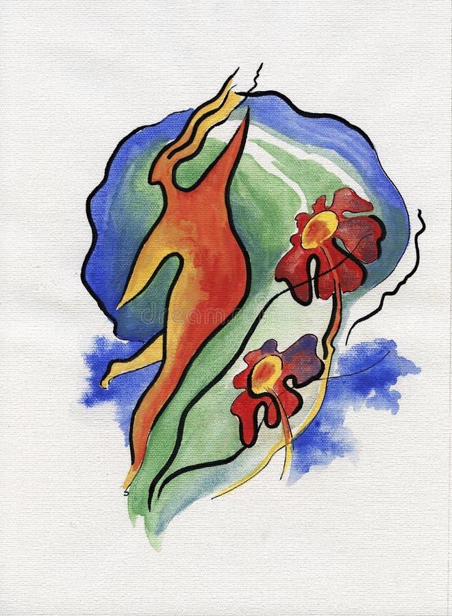 Mujer del baile en estilo abstracto stock de ilustración