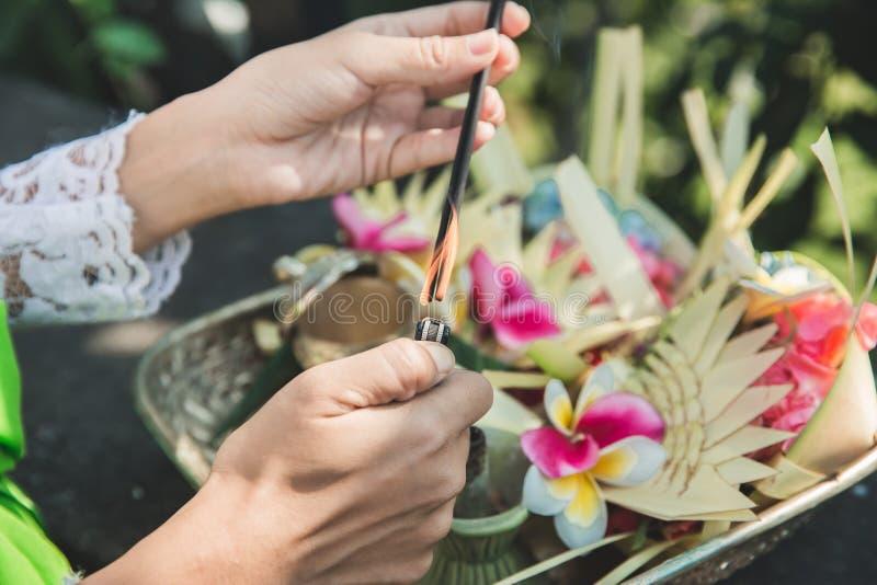 Mujer del Balinese que hace la sari de ofrecimiento del canang del ritual y que ruega en imagen de archivo libre de regalías