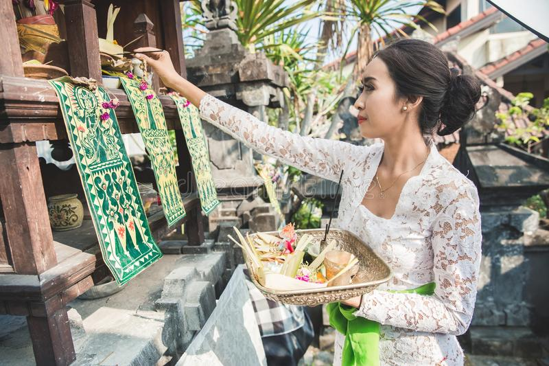 Mujer del Balinese que hace la sari de ofrecimiento del canang del ritual y que ruega en fotografía de archivo