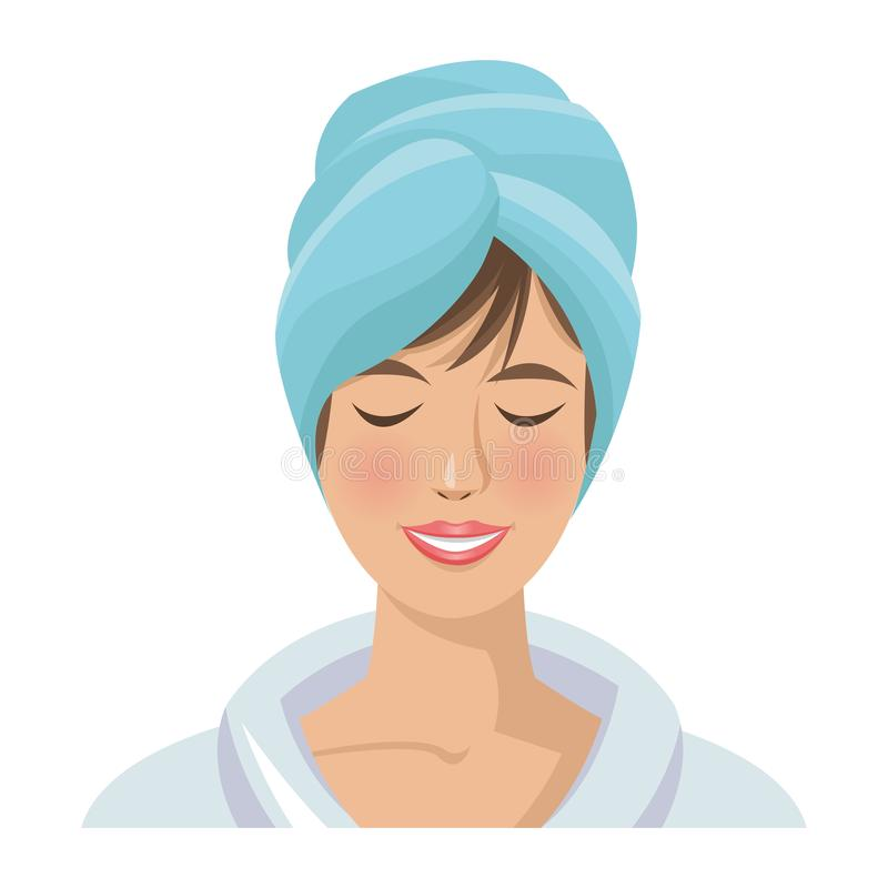 Mujer del balneario con las toallas ilustración del vector