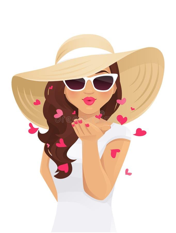 Mujer del beso del verano stock de ilustración