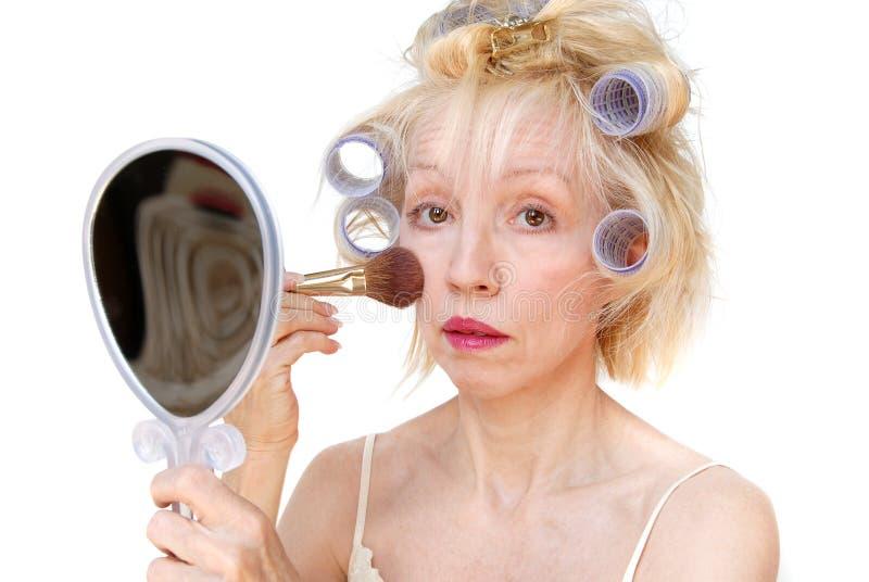Mujer del bigudí foto de archivo