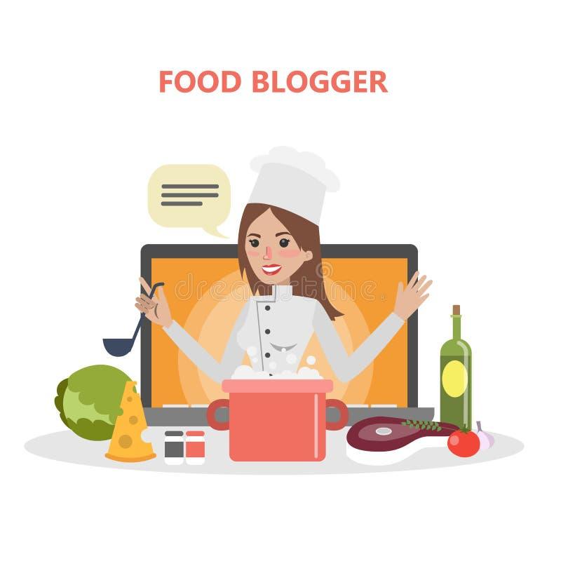 Mujer del blogger de la comida ilustración del vector