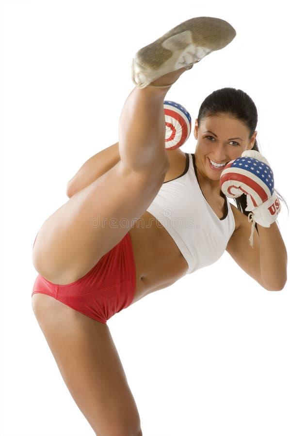 Mujer del boxeo de retroceso imagen de archivo libre de regalías