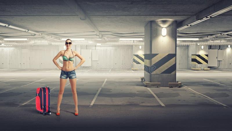 Mujer del caminante de tirón Técnicas mixtas fotos de archivo libres de regalías