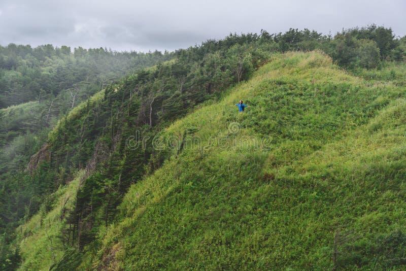 Mujer del caminante que se coloca con los brazos aumentados en la colina verde fotografía de archivo