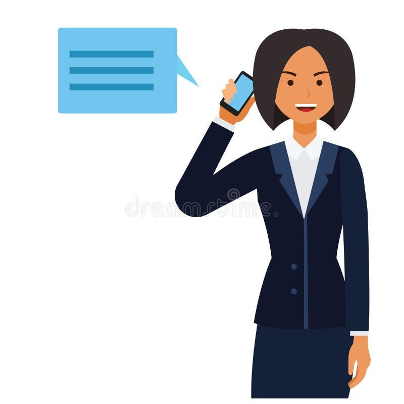 Mujer del CEO del negocio que hace historieta de la llamada de teléfono concepto plano del ejemplo del vector en fondo blanco ais libre illustration