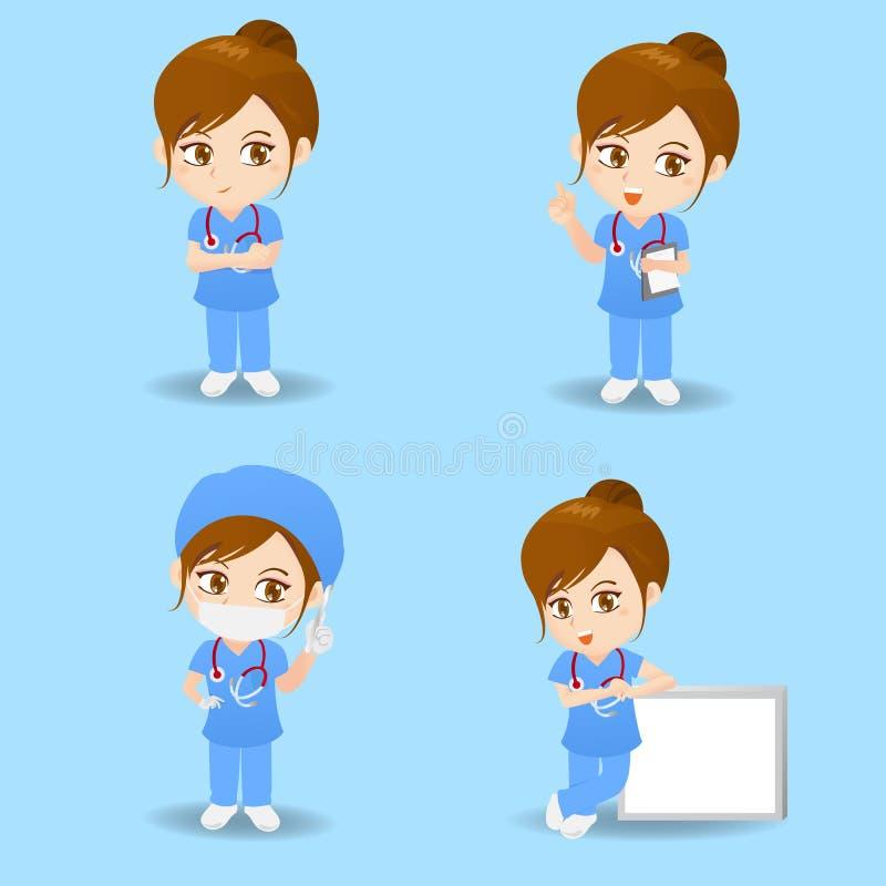 Mujer del cirujano del doctor de la historieta libre illustration