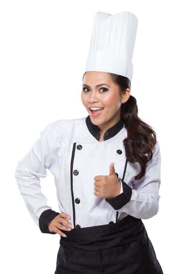 Mujer del cocinero - pulgares felices para arriba fotos de archivo libres de regalías
