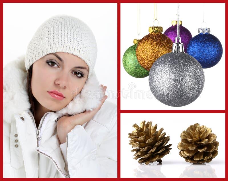 Mujer del collage con las bolas de la Navidad y los conos del pino fotos de archivo libres de regalías