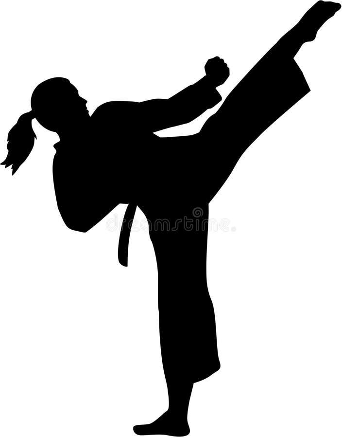 Mujer del combatiente del karate libre illustration