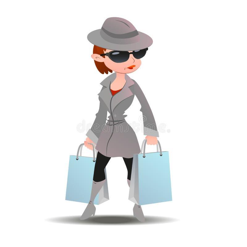 Mujer del comprador del misterio en capa del espía con las bolsas de papel de las compras libre illustration