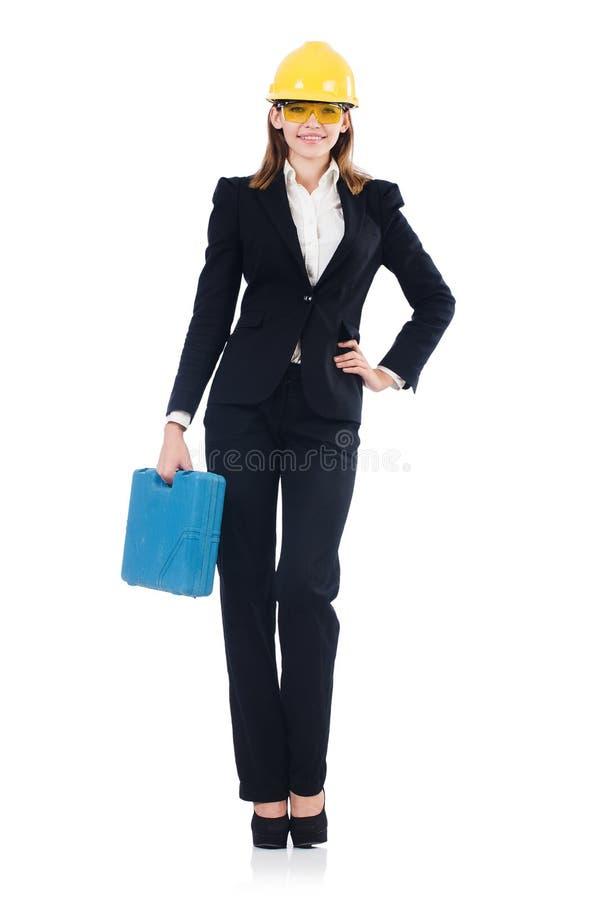 Mujer del constructor con la bolsa de viaje foto de archivo