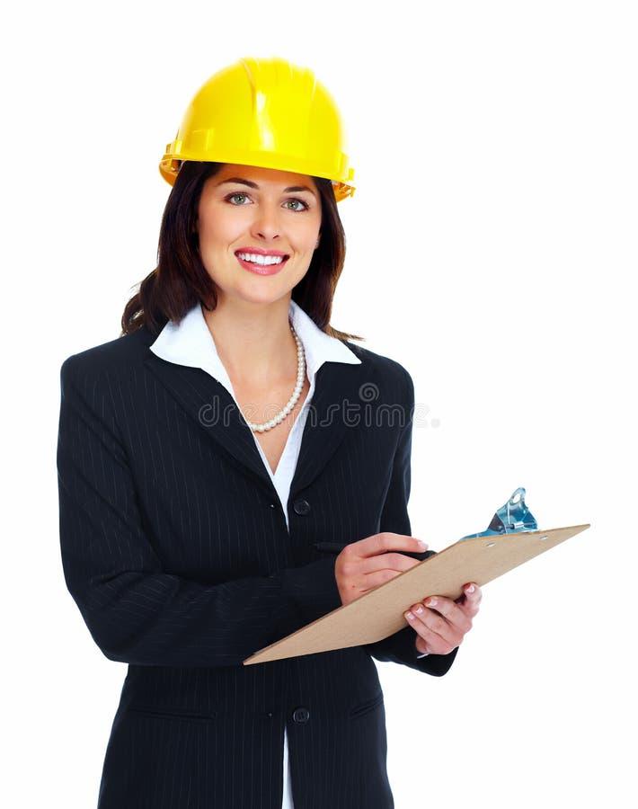 Mujer del contratista del trabajador. imagen de archivo