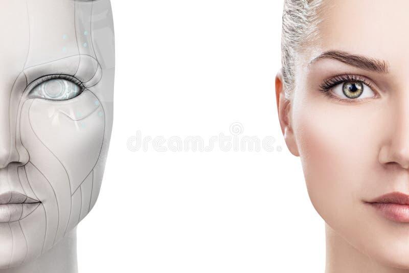 Mujer del Cyborg con la pieza de la m?quina de su cara fotografía de archivo