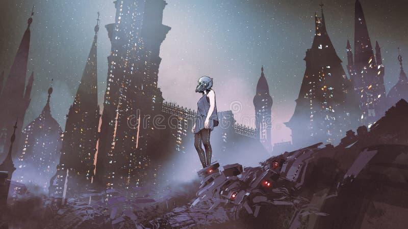 Mujer del Cyborg en ciudad del Cyberpunk ilustración del vector