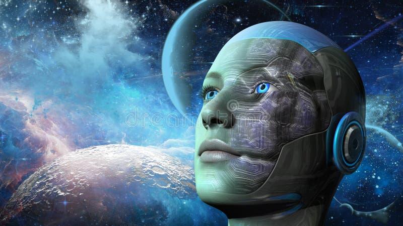Mujer del Cyborg - Humanoid stock de ilustración