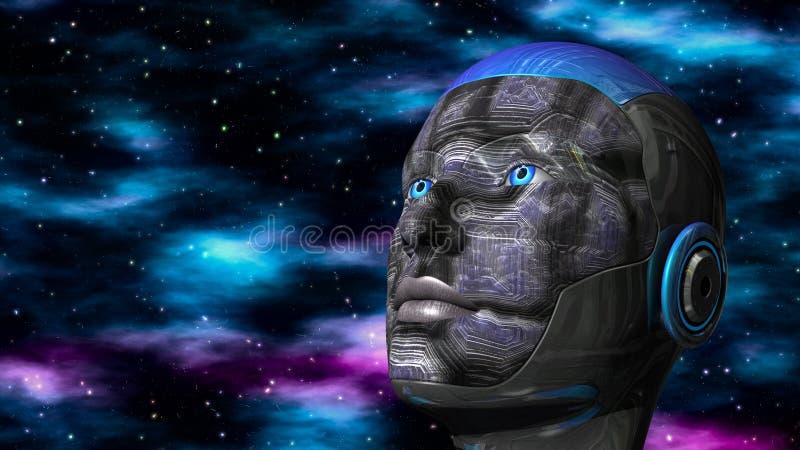 Mujer del Cyborg - Humanoid en espacio profundo ilustración del vector