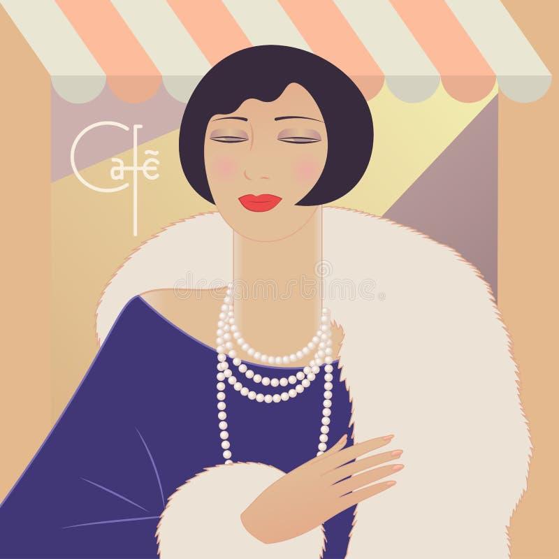 Mujer del deco del retrato en collar del manto y de la perla Café de las letras de Francia Ejemplo del vector del estilo del vint ilustración del vector