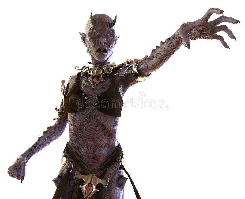 Mujer del demonio aislada en el ejemplo blanco 3D stock de ilustración