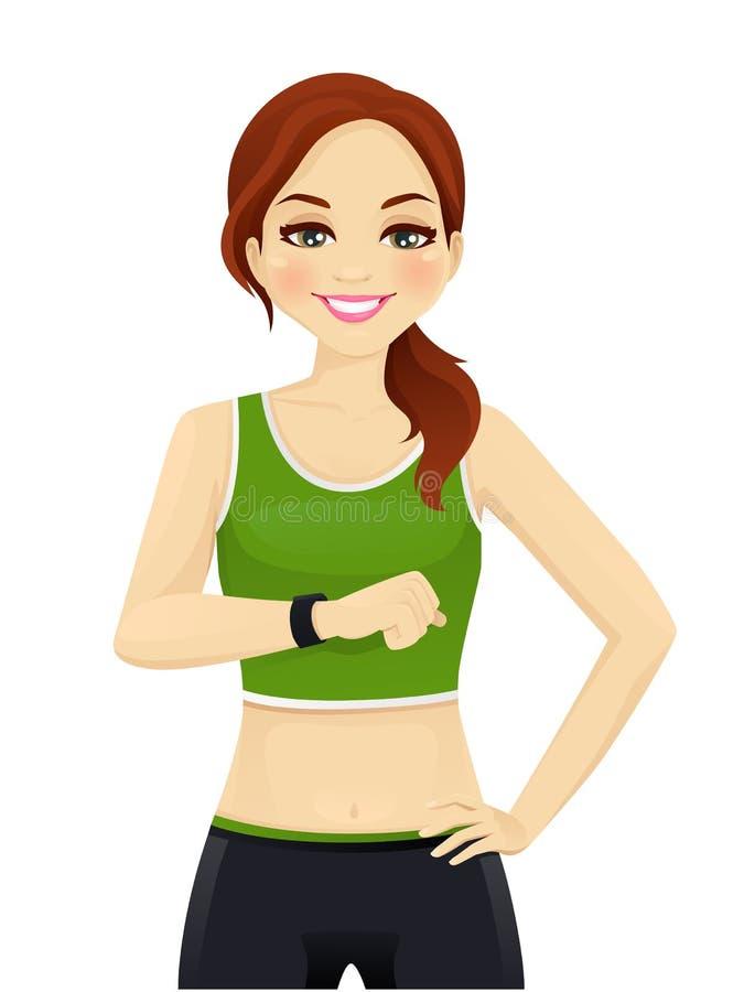 Mujer del deporte con el reloj elegante ilustración del vector