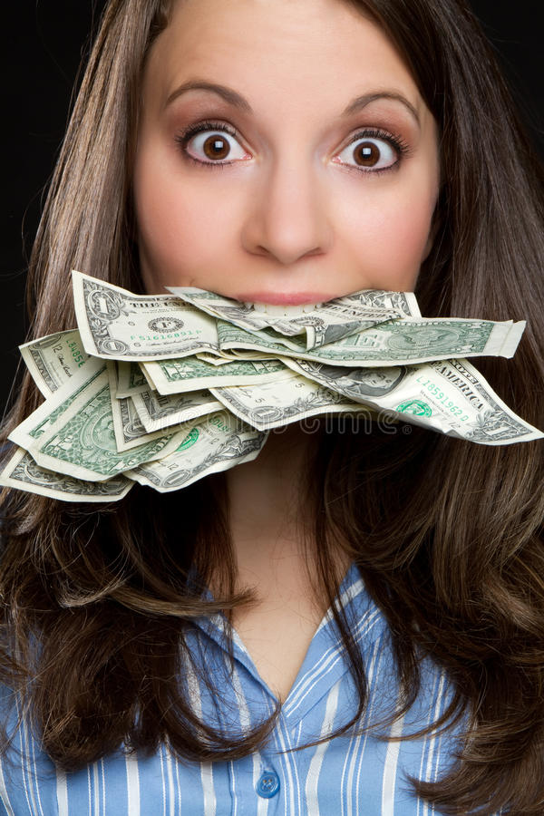 Mujer del dinero foto de archivo libre de regalías