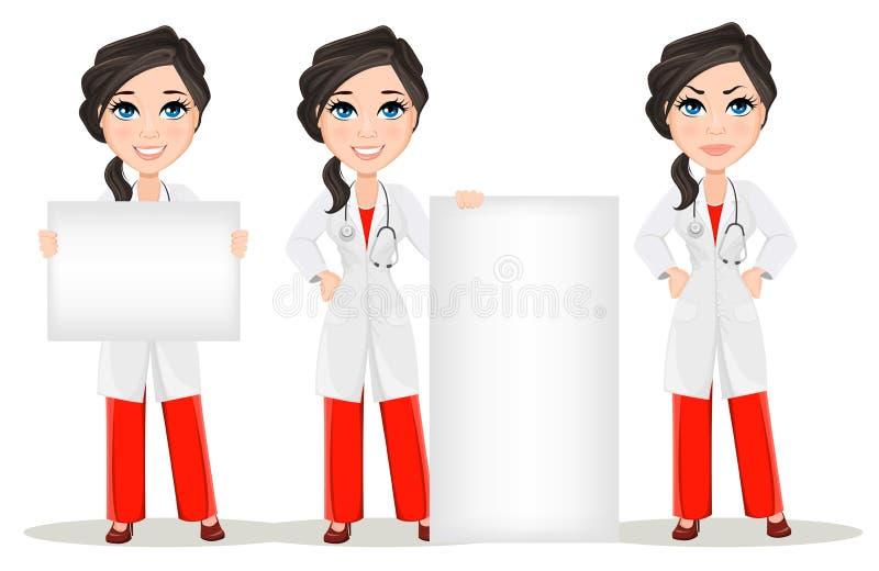 Mujer del doctor con el estetoscopio conjunto Carácter sonriente del doctor de la historieta linda en vestido médico ilustración del vector