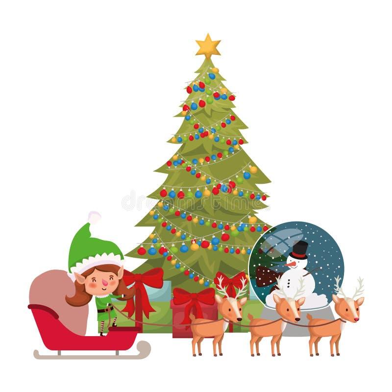 Mujer del duende con el carácter del avatar del trineo y del árbol de navidad stock de ilustración