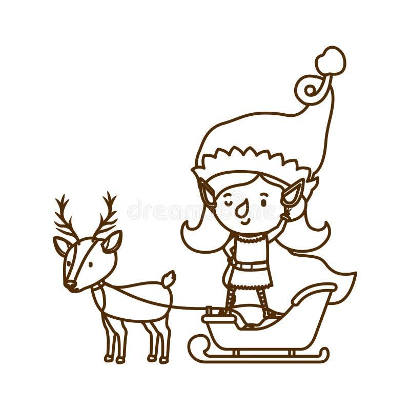 Mujer del duende con el trineo y el reno stock de ilustración