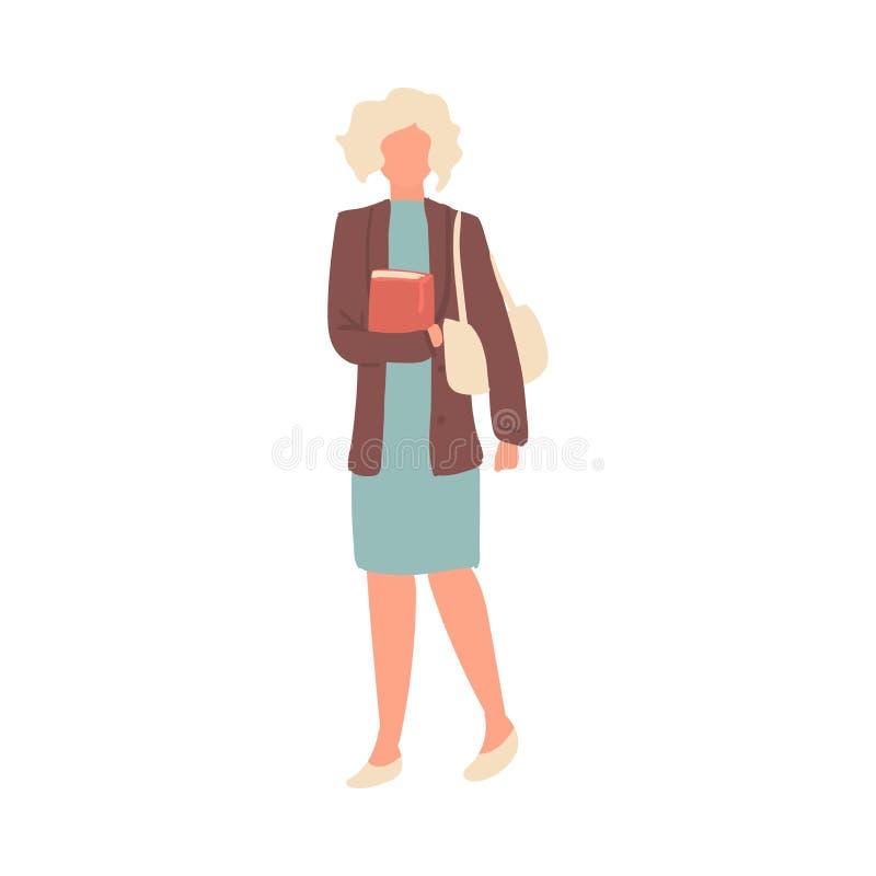 Mujer del estudiante de la moda del pelo blanco en vestido azul stock de ilustración